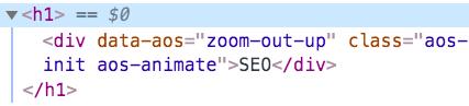 När du inspekterar ser du i koden att denna rubrik är kodad som H1